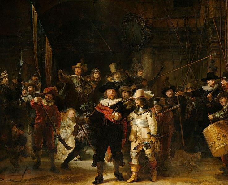 تصویر ١- پاس شبانه[1] (گروه گارد شهری کاپیتان فرانس بانینگ کک و ستوان ویلم وان رویتنبورگ[2])، رامبراند هارمِنس وان راین[3]، ١٦٤٢، رنگ روغن روی بوم، ٣.٦٣ در ٤.٣٧ متر ، موزهی ریکس[4]، آمستردام[5]، هلند[6]